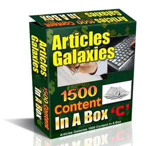 Articles Galaxies Content in a Box C with Private Label Rights (PLR)