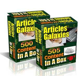 Articles Galaxies Content in a Box A+B with Private Label Rights (PLR)